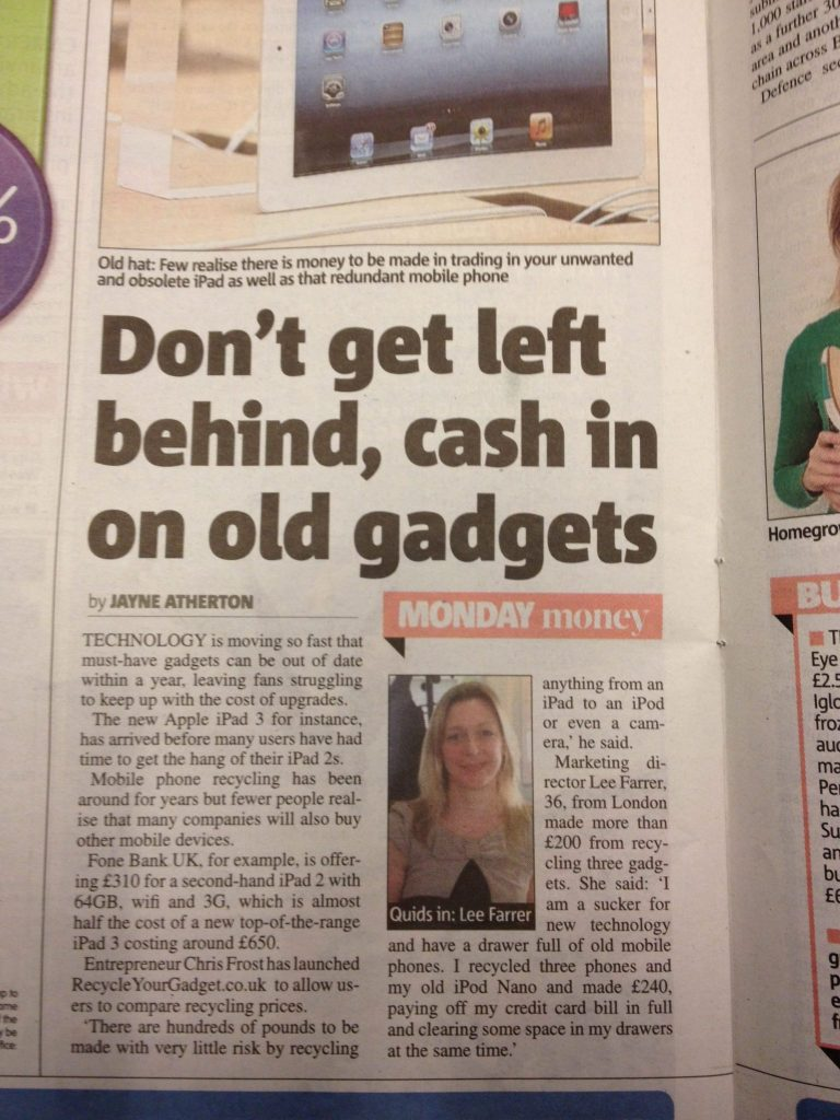 Hotfoot client 'Recycle Your Gadget' in today's Metro