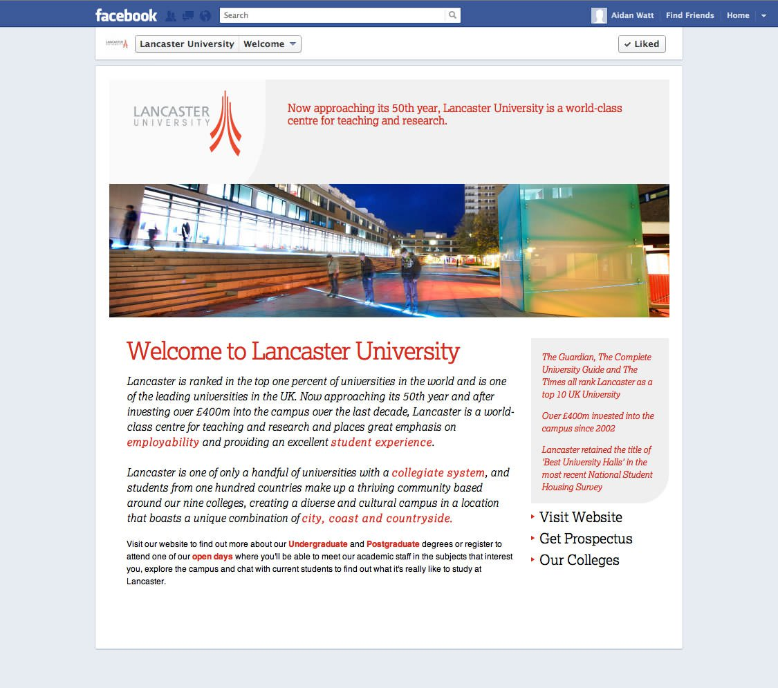 New Custom Facebook Page for Lancaster University