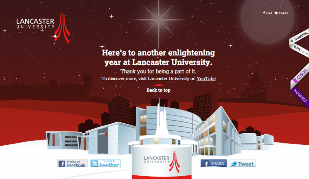Awards nominations for Lancaster University Christmas Message