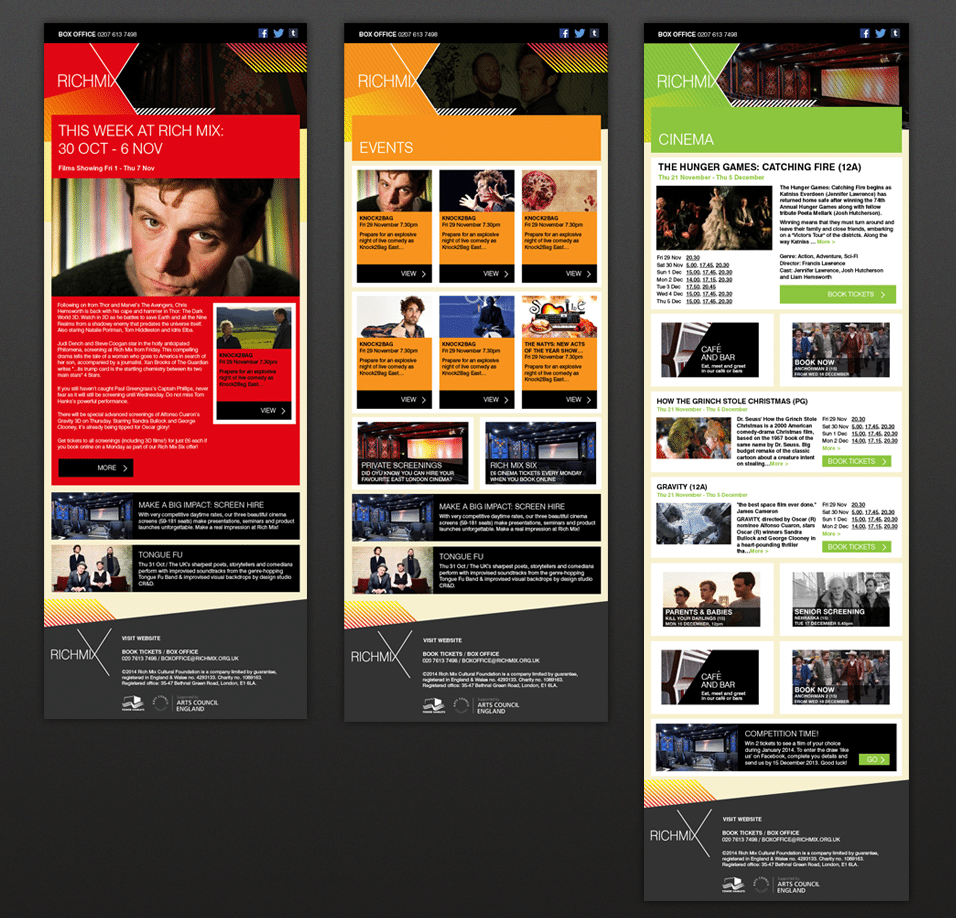 Emailer designs for Rich Mix Cinema in London - Hotfoot Design