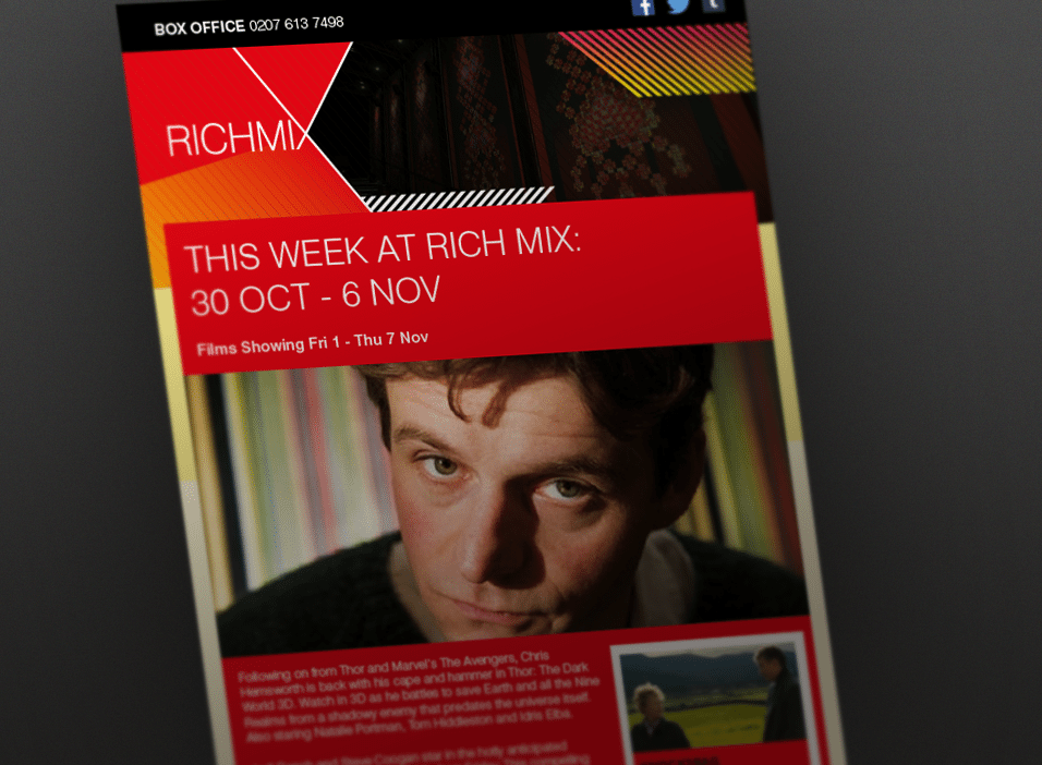 Emailer designs for Rich Mix Cinema in London