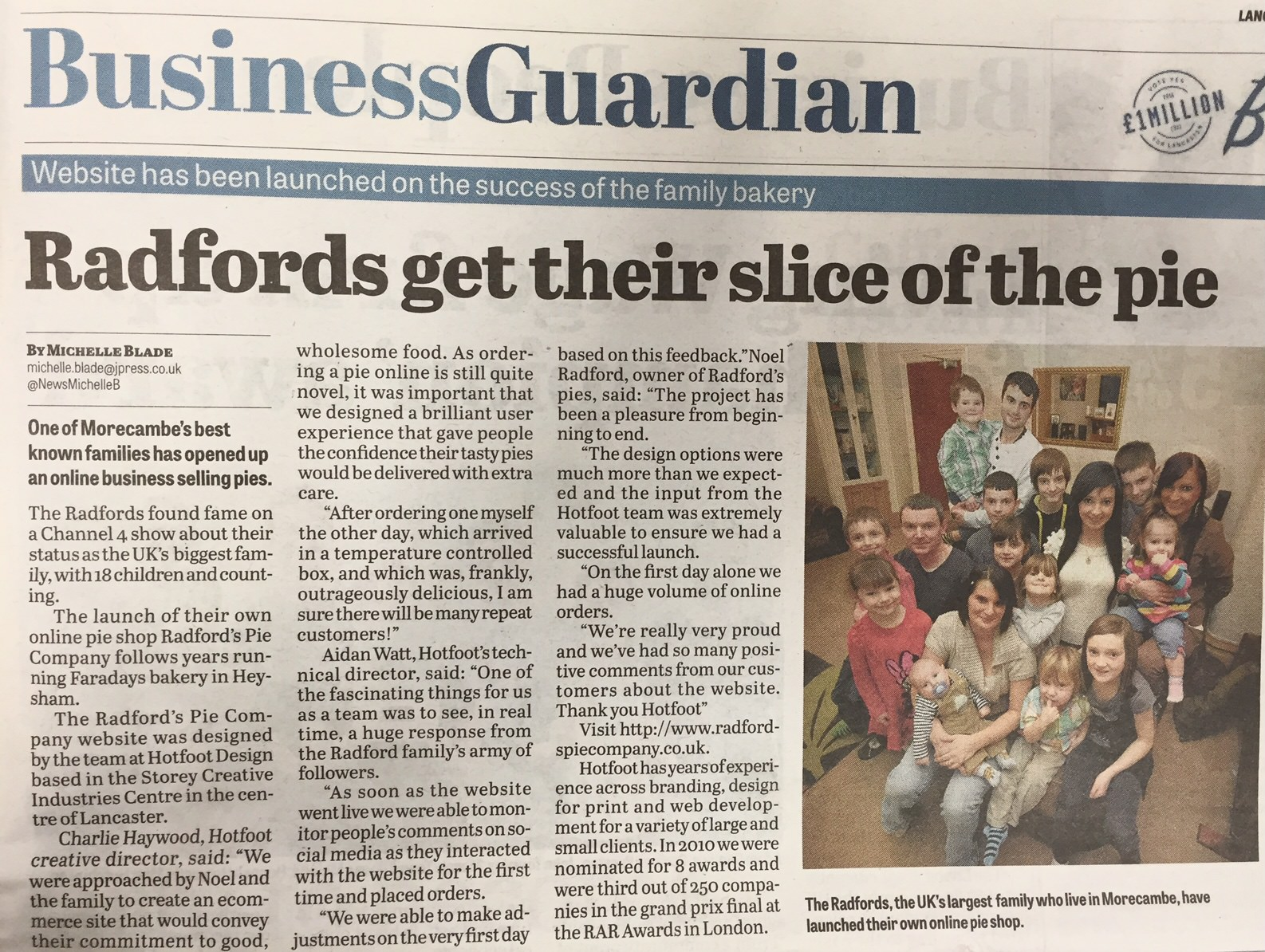 Hotfoot client Radfords Pie Company gets another slice of media coverage