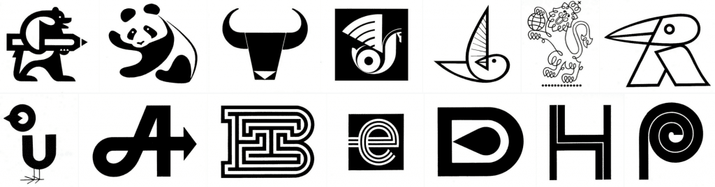 Monochrome logos from the 50s and 70s