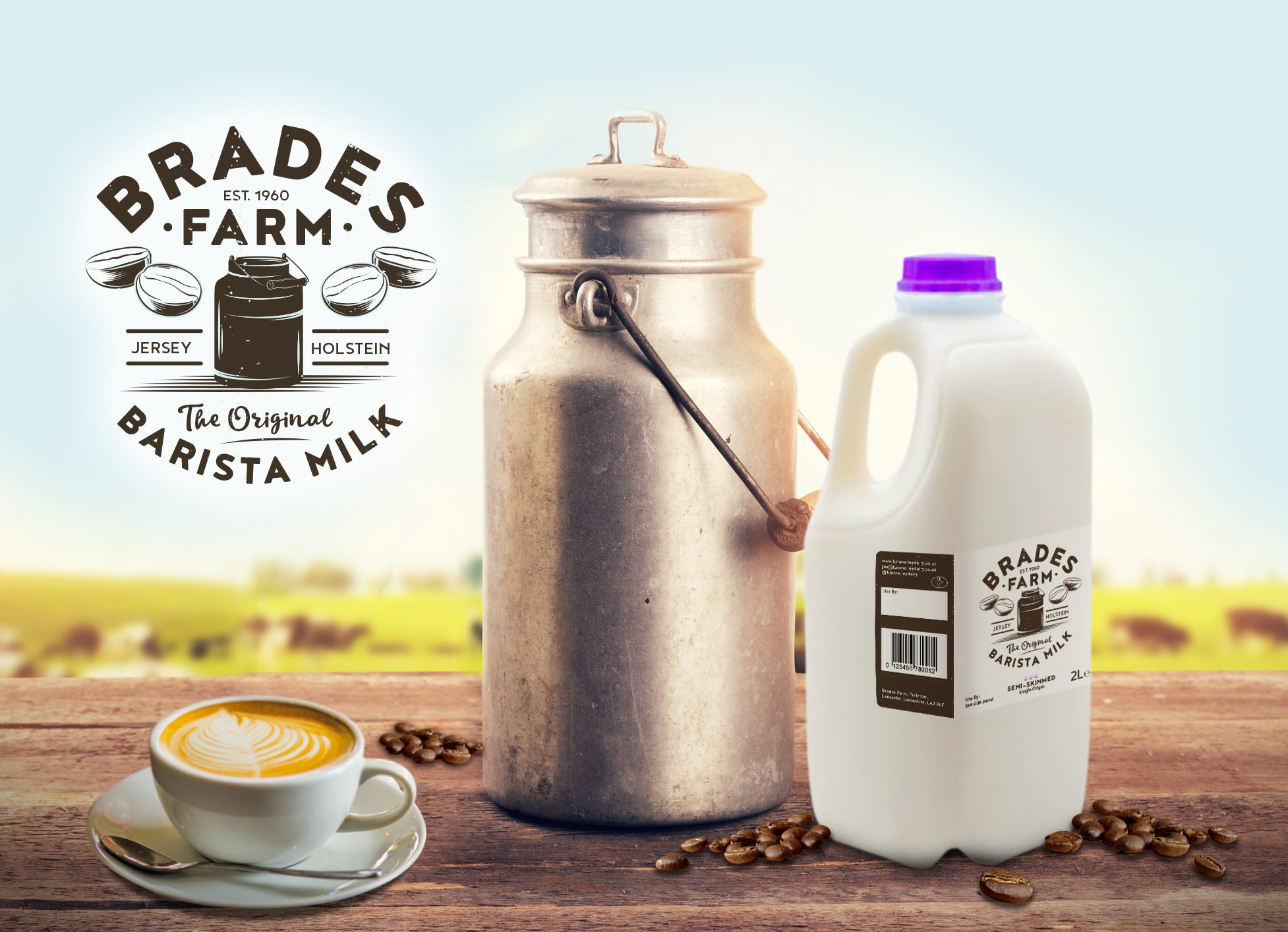 new brand identity for brades farm barista milk hotfoot