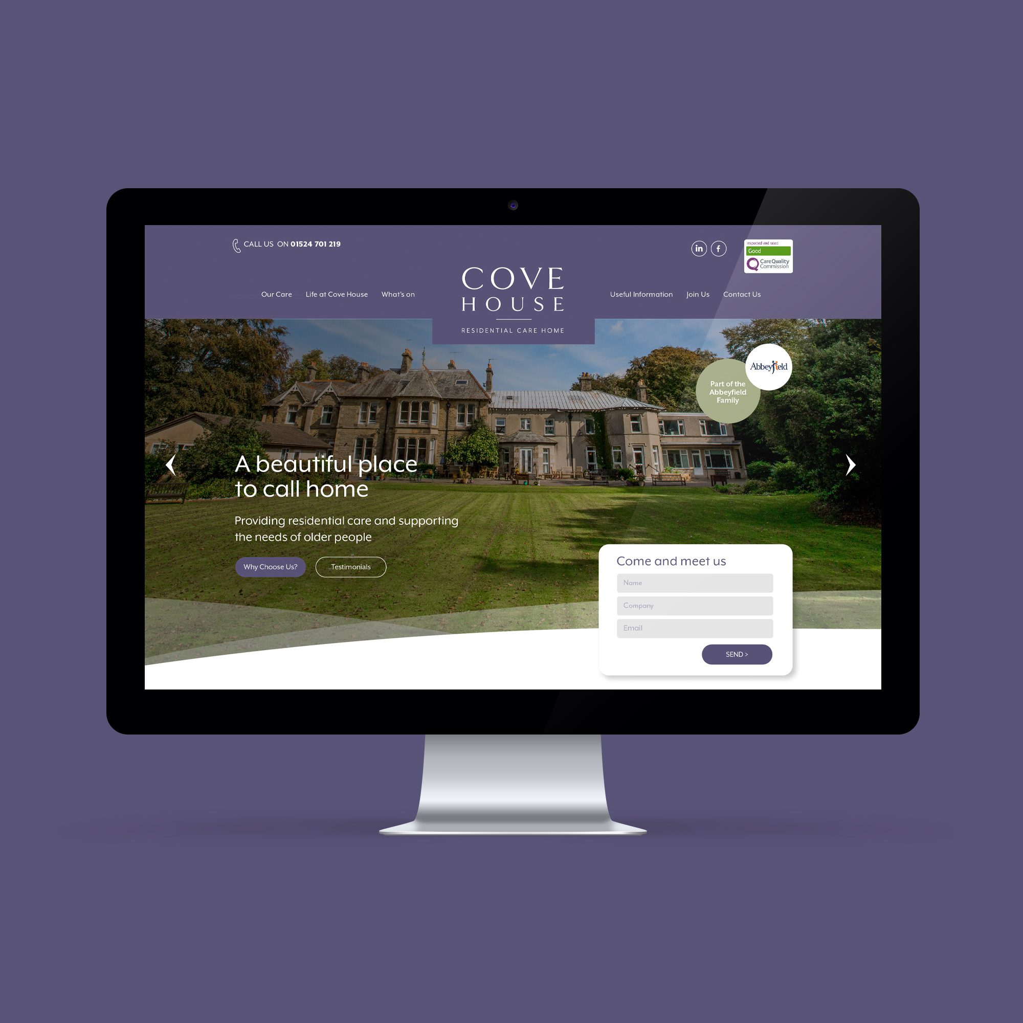New brand identity and website design for Cove House residential home in Silverdale, Lancashire