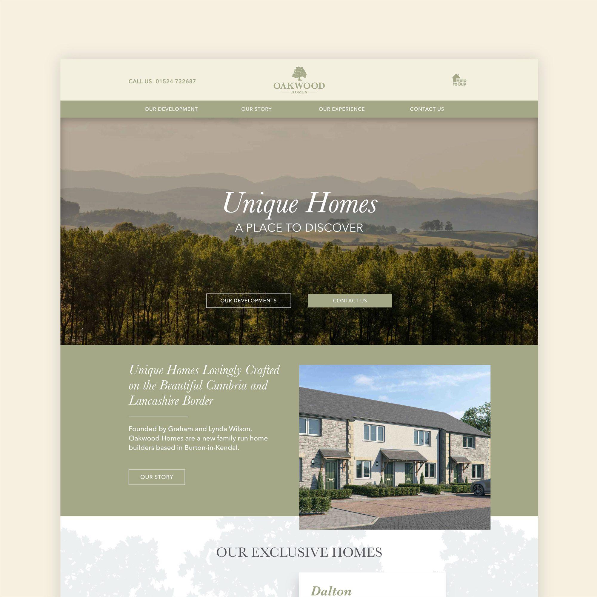 New brand identity and website design for Oakwood Homes in Lancashire